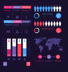 Infographic dashboard worldwide marketing vector