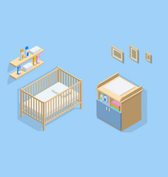 Isometric interior furniture for baby room cot vector