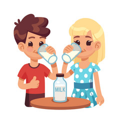 kids drink milk cartoon children boy and girl vector image