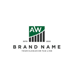 Letter aw chart financial logo design vector