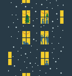 light in the windows of the house vector image
