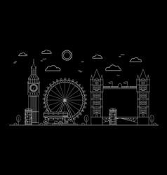 London city thin line art vector