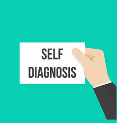 man showing paper self diagnosis text vector image