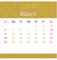 March 2018 calendar popular premium for business vector