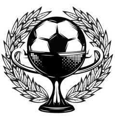 monochrome template with a soccer cup and wings vector image