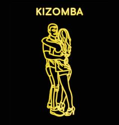 Neon contour man and woman dancing kizomba vector