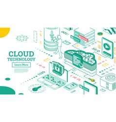 Outline isometric cloud technology networking vector