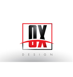 Ox o x logo letters with red and black colors and vector