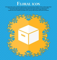 packaging cardboard box icon Floral flat design on vector image