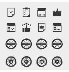 Quality control black icons set vector