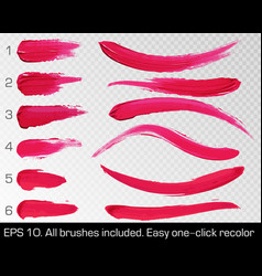 Red smears lipstick set texture brush strokes vector
