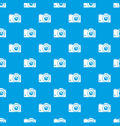 Retro camera pattern seamless blue vector