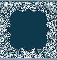 retro white boho floral pattern frame two vector image