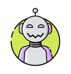 round robot icon line style on white background vector image