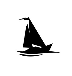 sailing boat logo flat symbol with flag at top vector image
