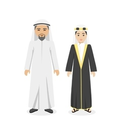 Saudi Arabia Traditional Clothes People vector image