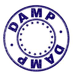 Scratched textured damp round stamp seal vector