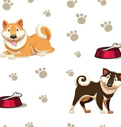 Seamless background with dogs and footprints vector