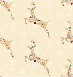 Seamless pattern ornamental christmas reindeer vector