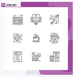 Set 9 outlines on grid for coffee coffee vector