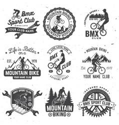 Set bmx mtb extreme sport club badge vector
