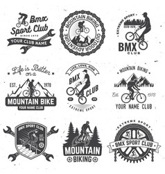 set bmx mtb extreme sport club badge vector image