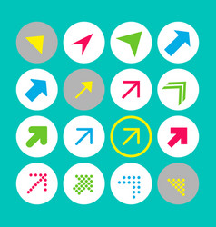 set of 16 arrow icons with north-east direction vector image