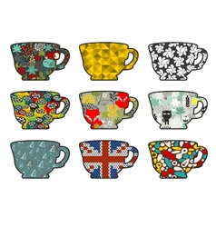 Set of tea cups with different patterns vector image