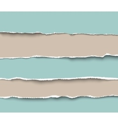 Set of torn craft paper pieces with rough edges vector