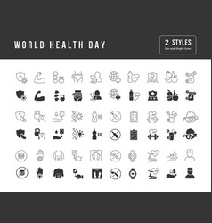 simple icons world health day vector image