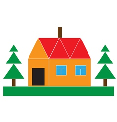 Small house with the firs vector