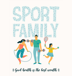 Sport family tempale with leading an vector