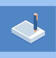stack of papers and pen icon vector image
