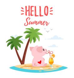 Summer cute pink pig vector