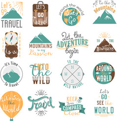 Travel motivation badge set vector