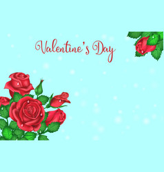 valentines day greeting card with a bouquet of vector image
