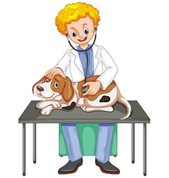 Vet checking up dog with stethoscope vector
