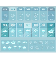 Weather big blue forecast with icons vector