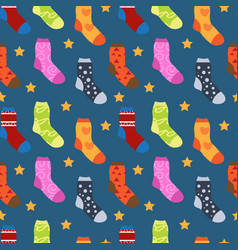 Winter socks with different prints seamless vector