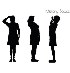 Woman in salute pose on white background vector