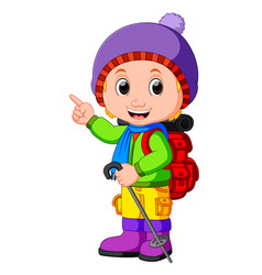 young girl ready for hiking vector image
