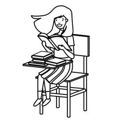 Young student girls reading in school desk vector
