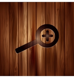 Zoom in icon search loupe wooden texture vector