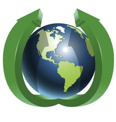 Globe and two green arrows top vector image