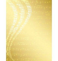 Gold musical background with notes vector