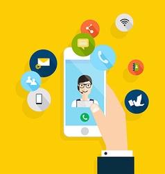 modern creative flat design on hand holding mobile vector image