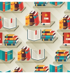 Seamless pattern with books on bookshelves in flat vector image vector image