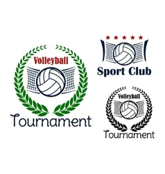 Volleyball game sport heraldic emblems vector image