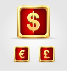 Currency gold icon set vector image vector image