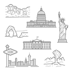 National landmarks of USA icons in thin line style vector image vector image
